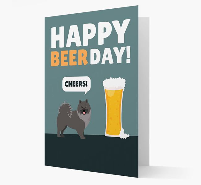 'Happy Beer Day' Card with Keeshond Icon