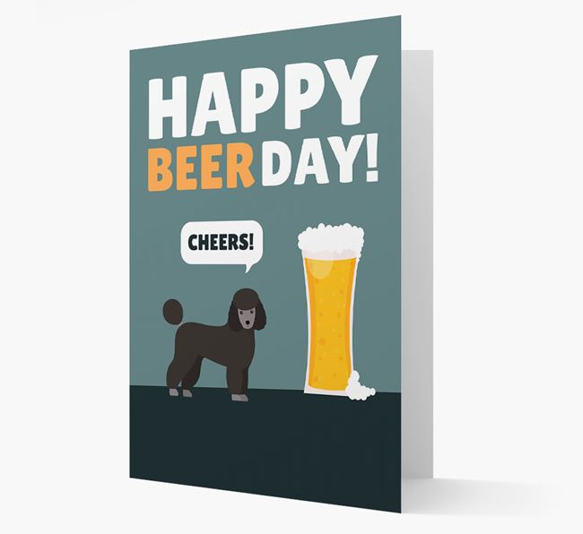 'Happy Beer Day' Card with Miniature Poodle Icon