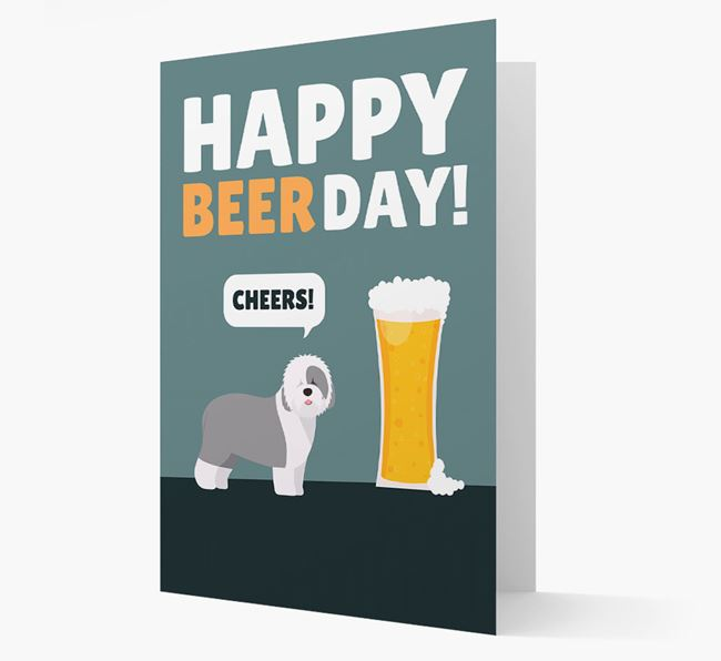 'Happy Beer Day' Card with Old English Sheepdog Icon