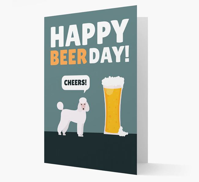 'Happy Beer Day' Card with Poodle Icon