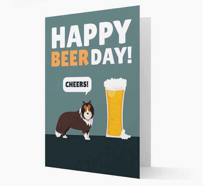 'Happy Beer Day' Card with Shetland Sheepdog Icon