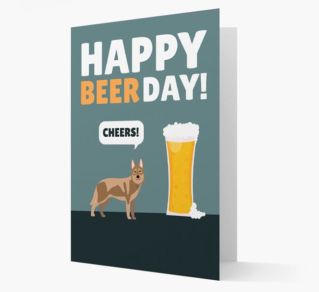 'Happy Beer Day' Card with Tamaskan Icon