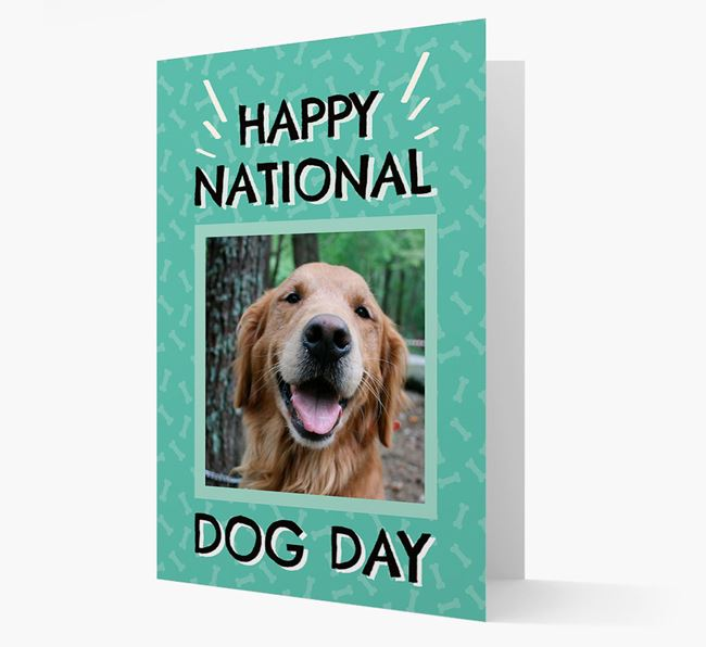 'Happy National Dog Day' Card with Photo of your Golden Retriever