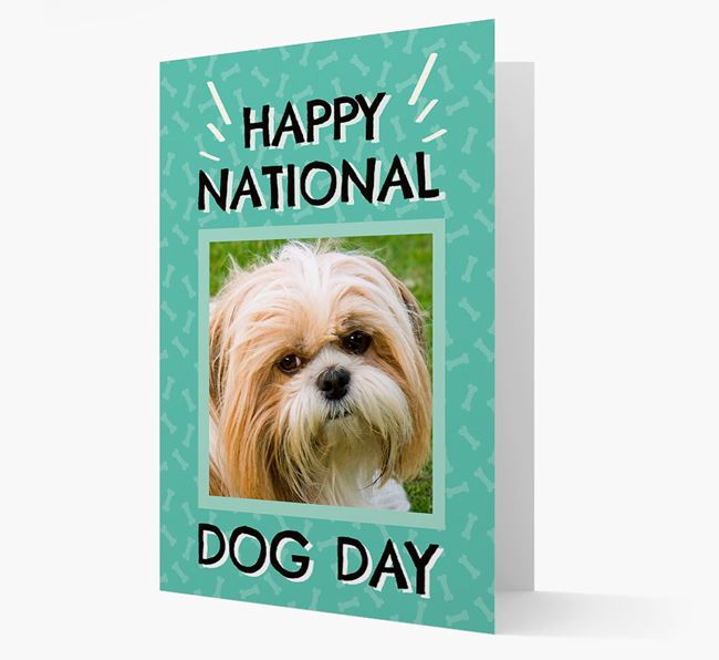 'Happy National Dog Day' Card with Photo of your Shih Tzu