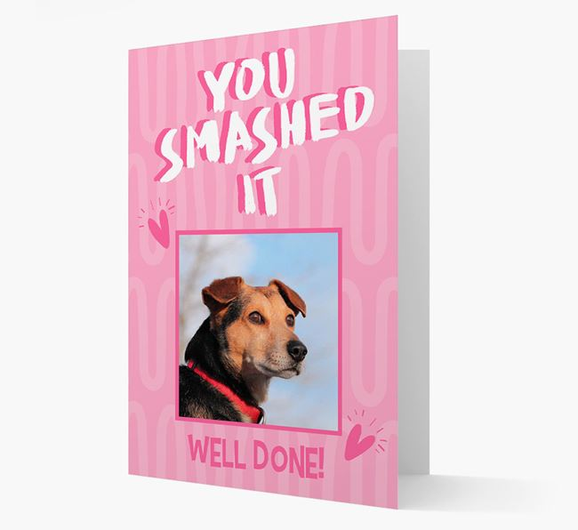 'You Smashed It' Card with Photo of your Spanish Water Dog