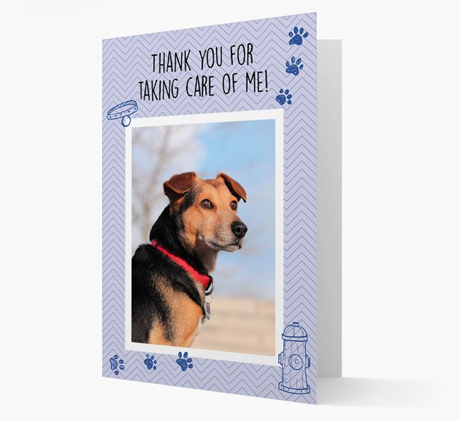'Thank You For Taking Care Of Me' Card with Photo of your Corgi