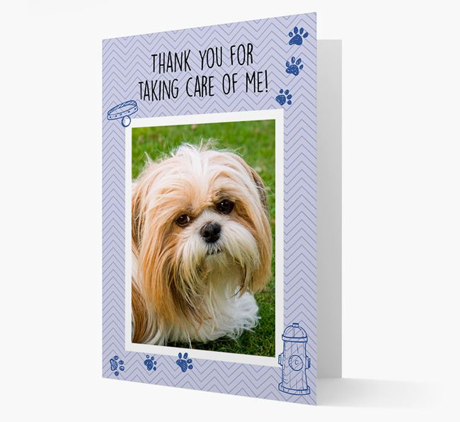 'Thank You For Taking Care Of Me' Card with Photo of your Shih Tzu