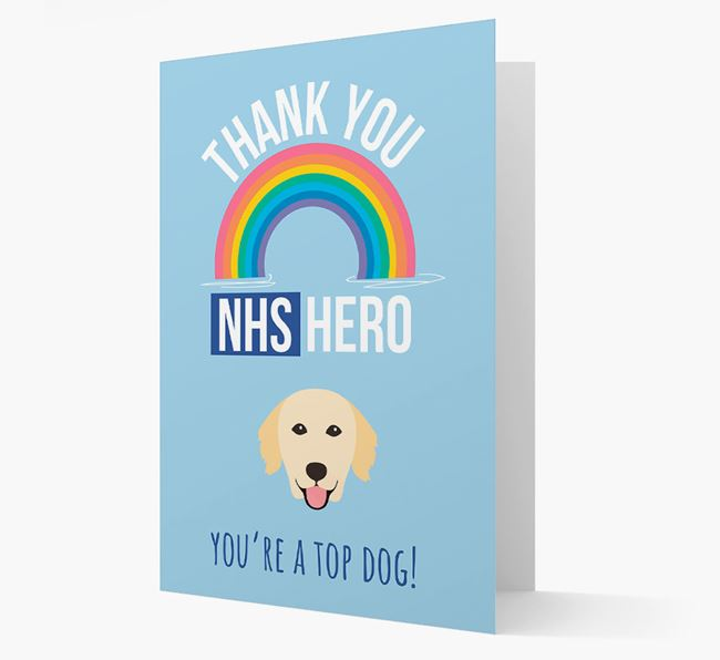 'Thank You NHS Hero' Card with Golden Retriever Icon