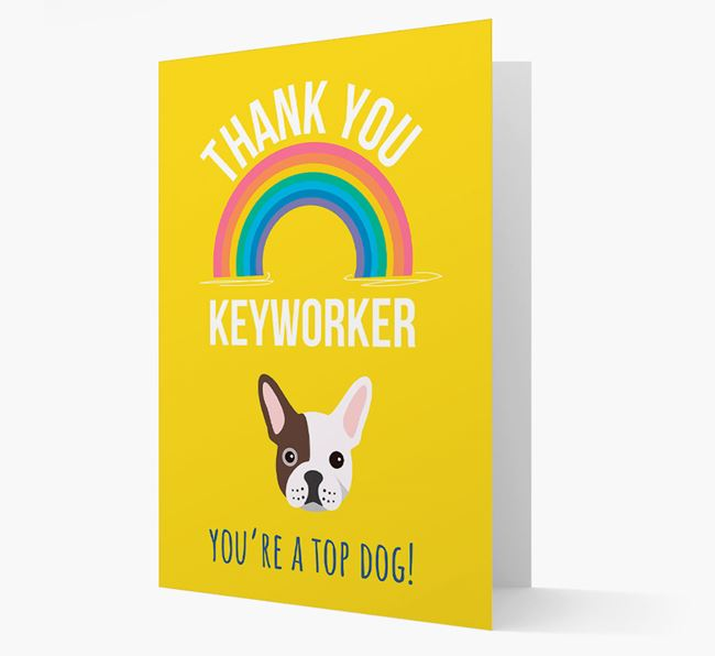 'Thank You Keyworker' Card with French Bulldog Icon