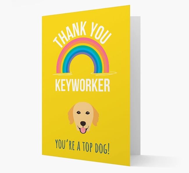 'Thank You Keyworker' Card with Golden Retriever Icon