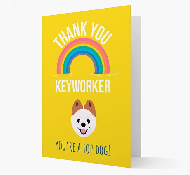 'Thank You Keyworker' Card with Pomeranian Icon