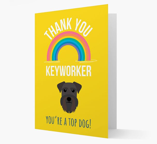 'Thank You Keyworker' Card with Schnauzer Icon