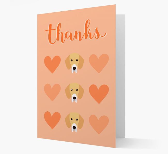 'Thanks' Heart Pattern Card with Bassador Icon