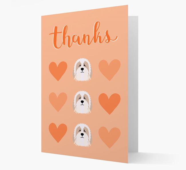 'Thanks' Heart Pattern Card with Bearded Collie Icon