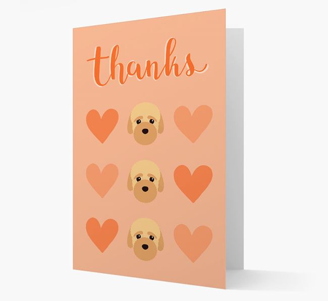 'Thanks' Heart Pattern Card with Bich-poo Icon