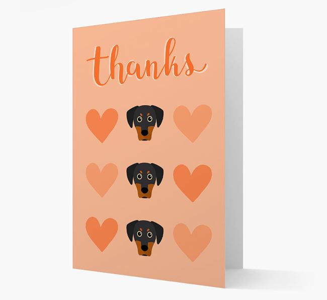 'Thanks' Heart Pattern Card with Blue Lacy Icon