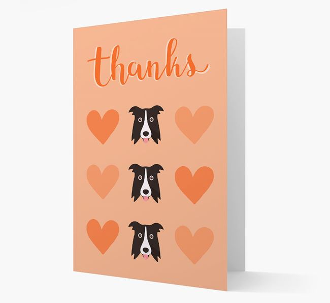 'Thanks' Heart Pattern Card with Dog Icon