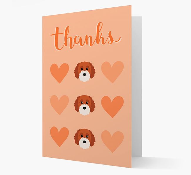 'Thanks' Heart Pattern Card with Cavapoochon Icon