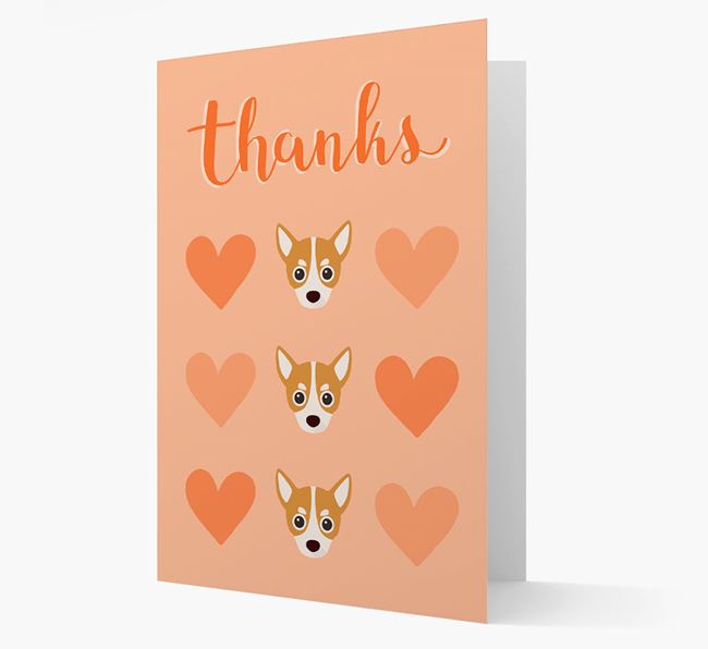'Thanks' Heart Pattern Card with Chihuahua Icon