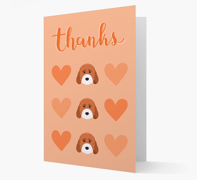 'Thanks' Heart Pattern Card with Cockapoo Icon