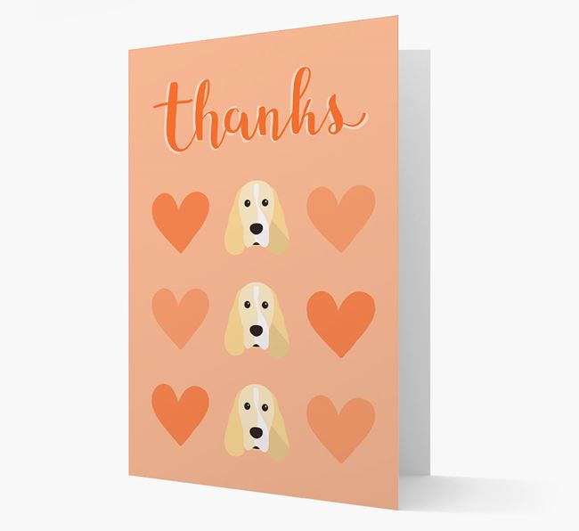 'Thanks' Heart Pattern Card with Cocker Spaniel Icon