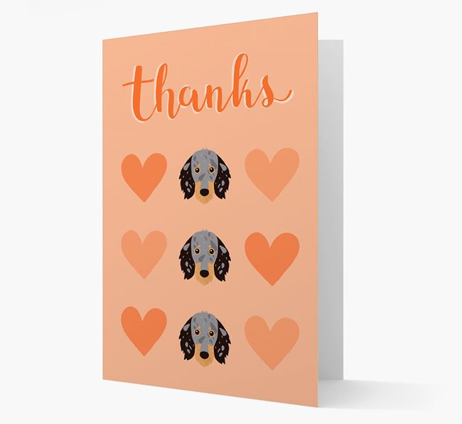'Thanks' Heart Pattern Card with Dachshund Icon