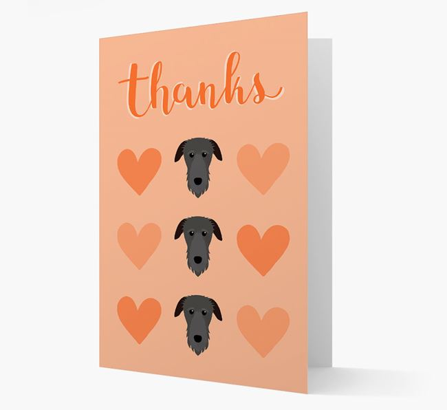 'Thanks' Heart Pattern Card with Deerhound Icon