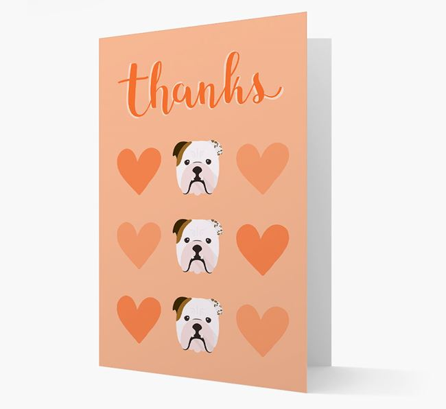 'Thanks' Heart Pattern Card with English Bulldog Icon