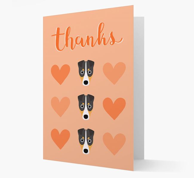 'Thanks' Heart Pattern Card with Fox Terrier Icon