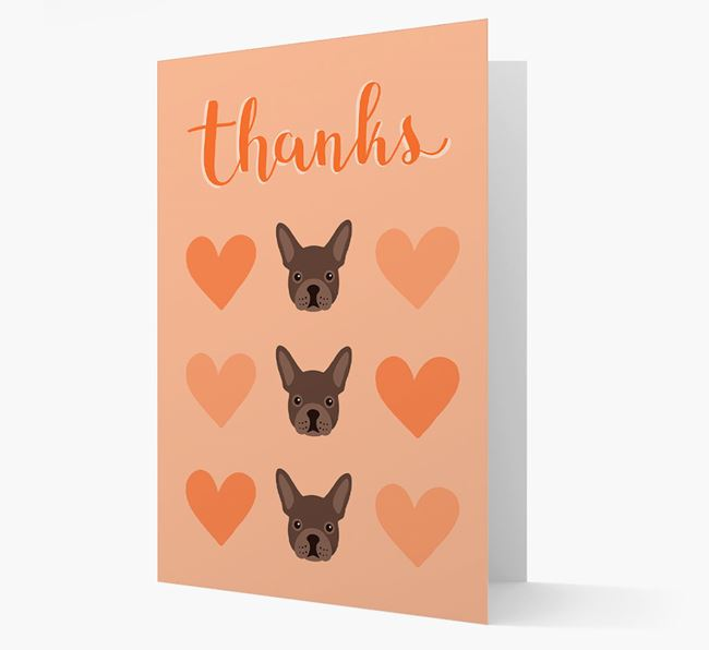 'Thanks' Heart Pattern Card with French Bulldog Icon