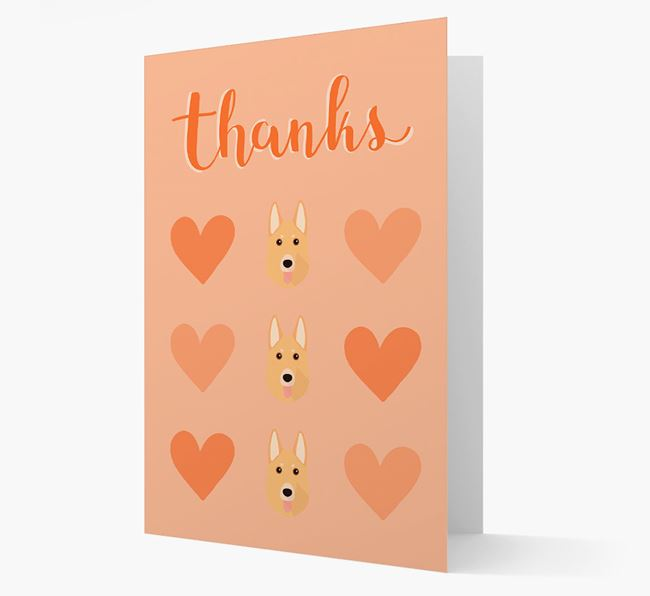'Thanks' Heart Pattern Card with German Shepherd Icon