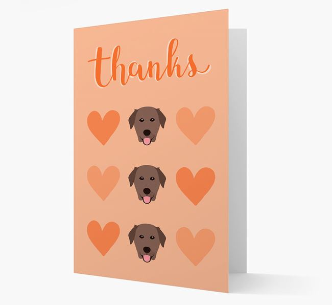 'Thanks' Heart Pattern Card with Golden Labrador Icon