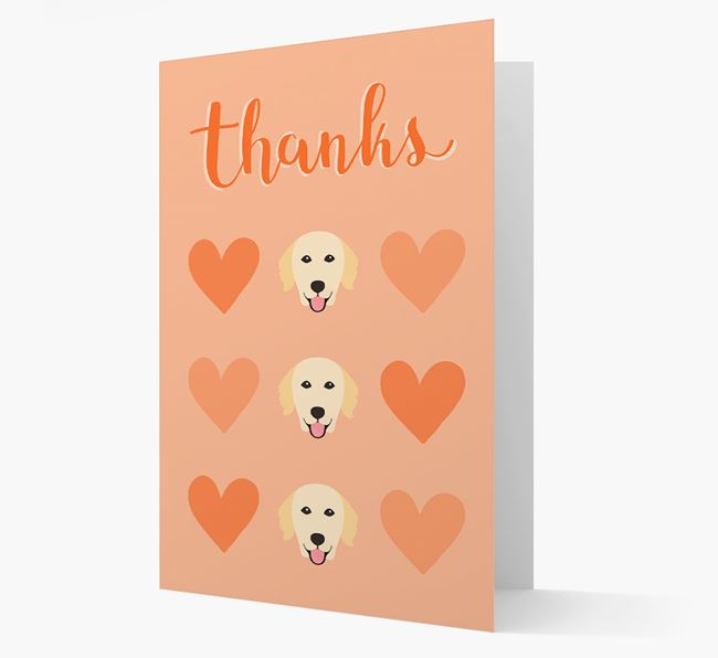 'Thanks' Heart Pattern Card with Golden Retriever Icon