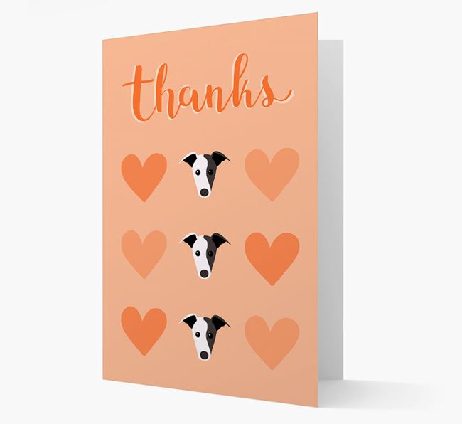 'Thanks' Heart Pattern Card with Greyhound Icon