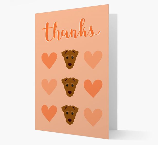 'Thanks' Heart Pattern Card with Jack-A-Poo Icon