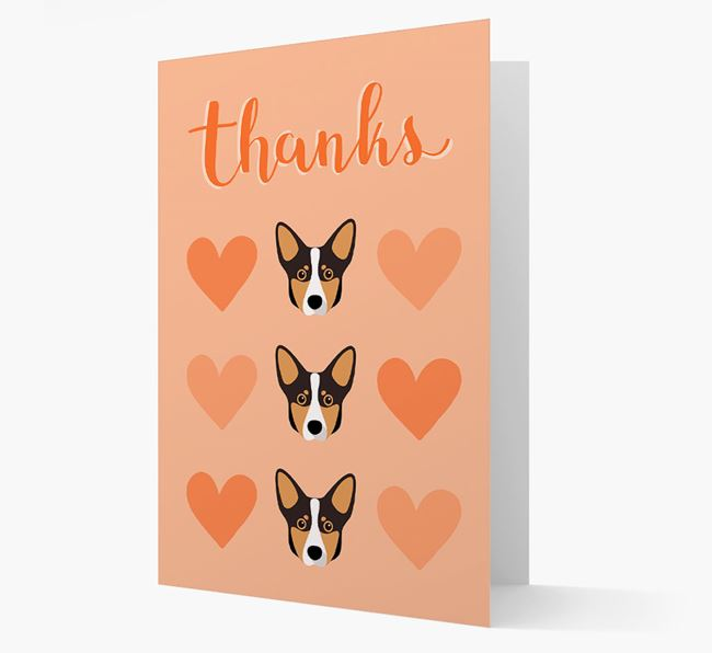 'Thanks' Heart Pattern Card with Lancashire Heeler Icon