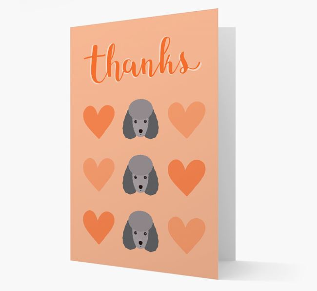 'Thanks' Heart Pattern Card with Miniature Poodle Icon