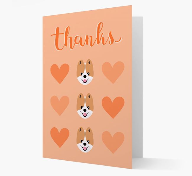 'Thanks' Heart Pattern Card with Pomeranian Icon