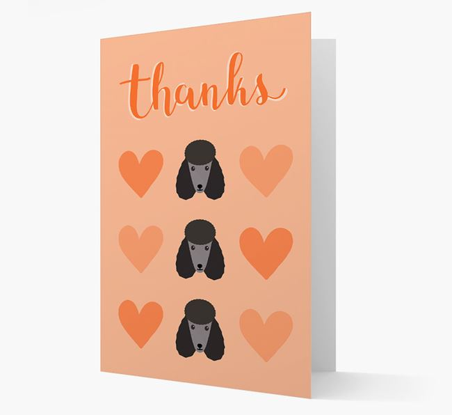 'Thanks' Heart Pattern Card with Poodle Icon