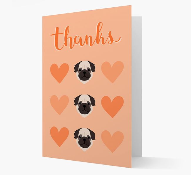 'Thanks' Heart Pattern Card with Pug Icon