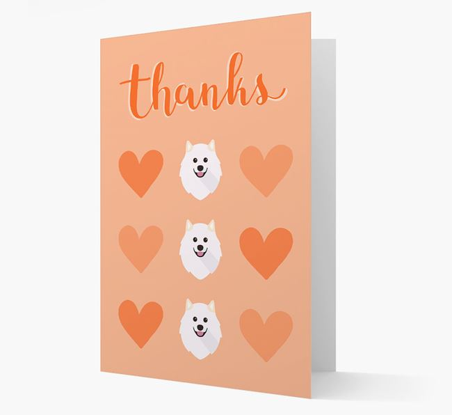 'Thanks' Heart Pattern Card with Samoyed Icon