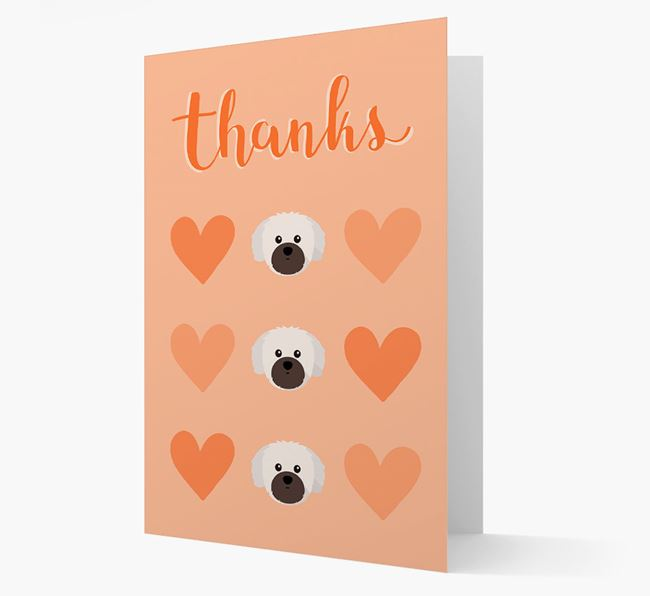 'Thanks' Heart Pattern Card with Shih Tzu Icon