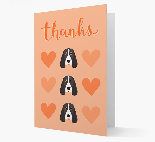 'Thanks' Heart Pattern Card with Springer Spaniel Icon