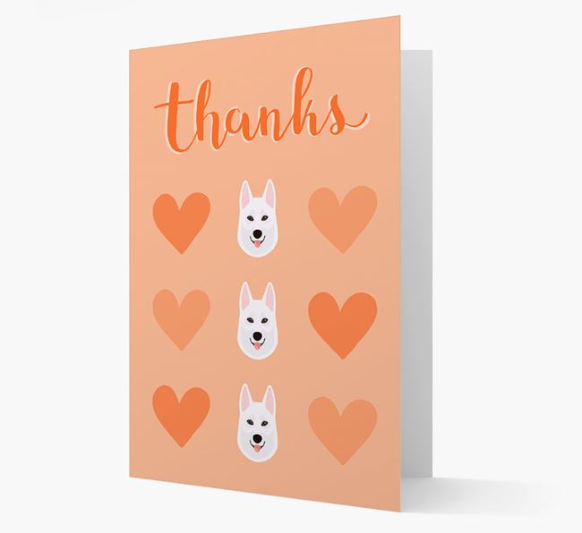 'Thanks' Heart Pattern Card with Tamaskan Icon
