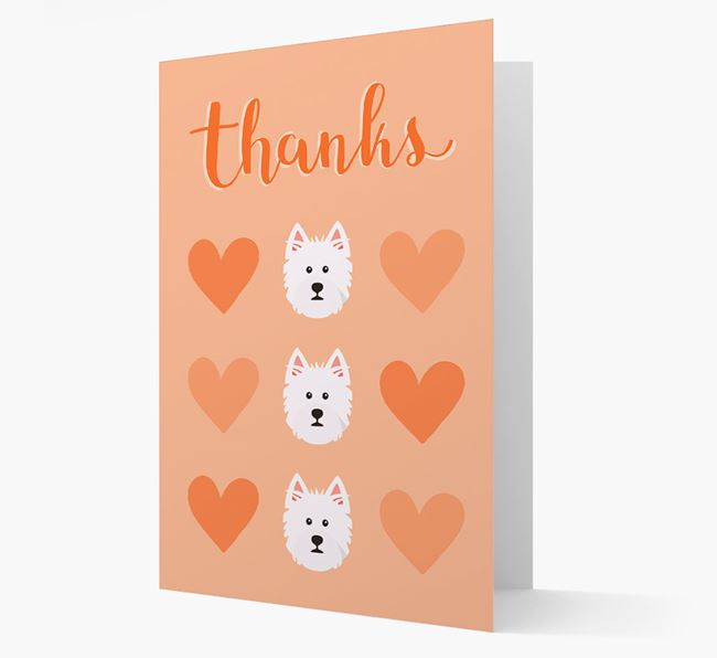 'Thanks' Heart Pattern Card with West Highland White Terrier Icon
