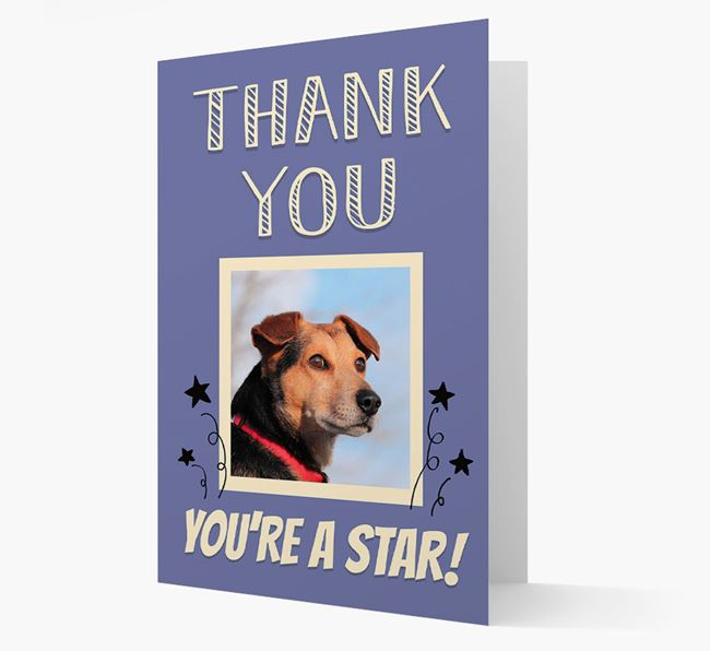 'Thank You, You're A Star!' Card with Photo of your Bearded Collie