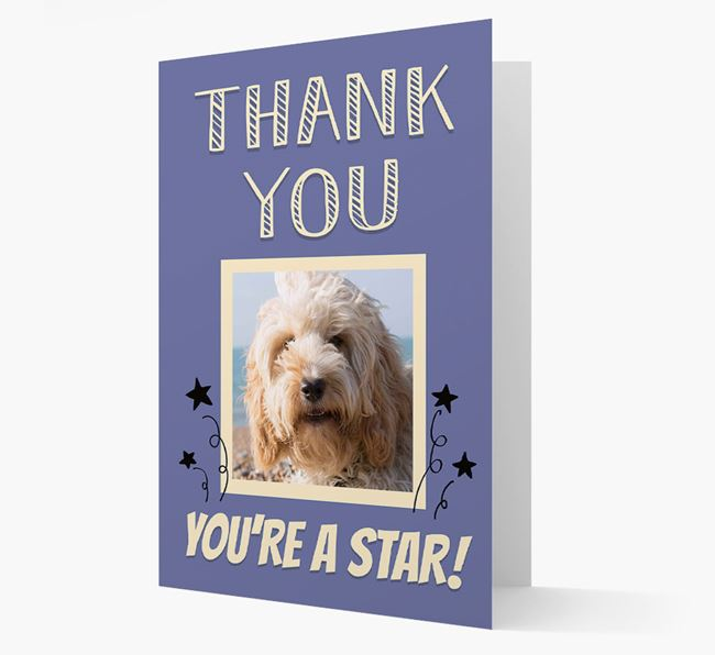 'Thank You, You're A Star!' Card with Photo of your Cockapoo
