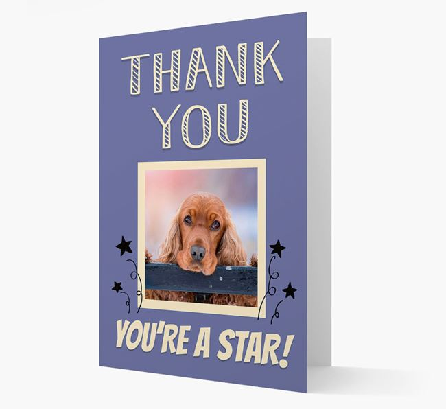 'Thank You, You're A Star!' Card with Photo of your Cocker Spaniel