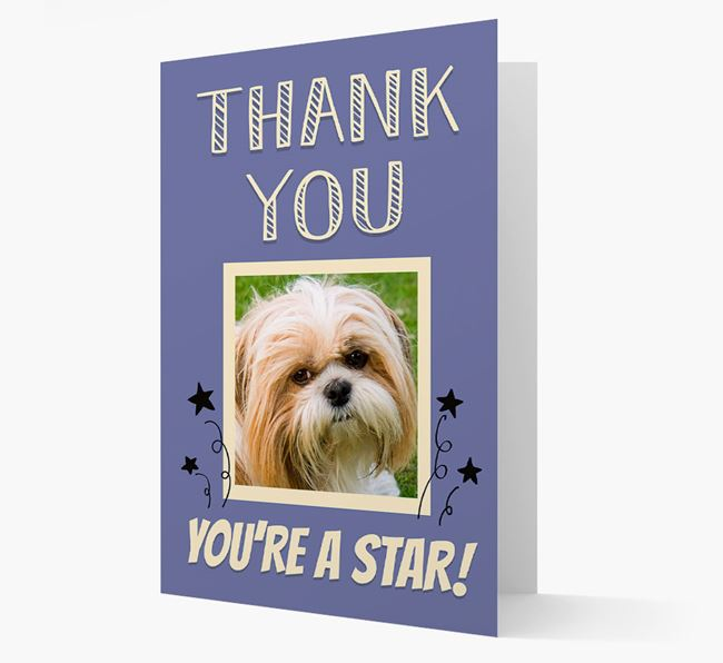 'Thank You, You're A Star!' Card with Photo of your Shih Tzu