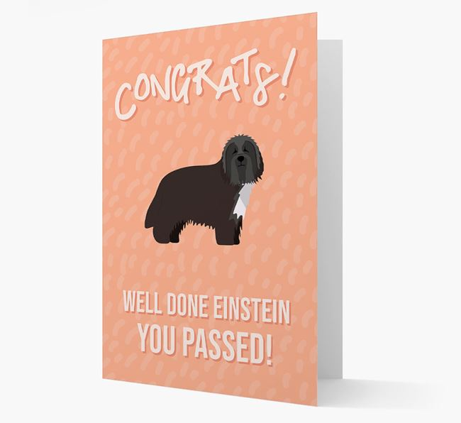 'Congrats! You Passed' Card with Bearded Collie Icon